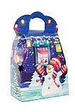 """Новогодняя картонная упаковка """"Сумка с Дедом морозом и Снеговиком"""" синяя 700-800 г., фото 3"""