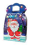 """Новогодняя картонная упаковка """"Сумка с Дедом морозом и Снеговиком"""" синяя 700-800 г., фото 4"""