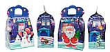 """Новогодняя картонная упаковка """"Сумка с Дедом морозом и Снеговиком"""" синяя 700-800 г., фото 2"""