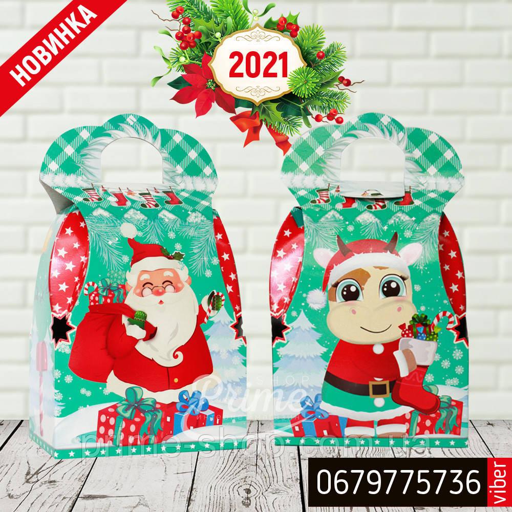 """Новогодняя картонная упаковка """"Сумка с Дедом морозом и Коровкой"""" бирюзовая 700-800 гр."""