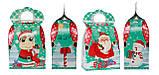 """Новогодняя картонная упаковка """"Сумка с Дедом морозом и Коровкой"""" бирюзовая 700-800 гр., фото 2"""