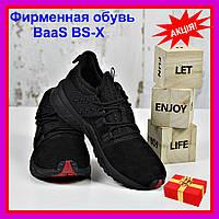 Кроссовки черные мужские BaaS BS-X Бас спорт замш экокожа весна осень 2020 р. 41-46