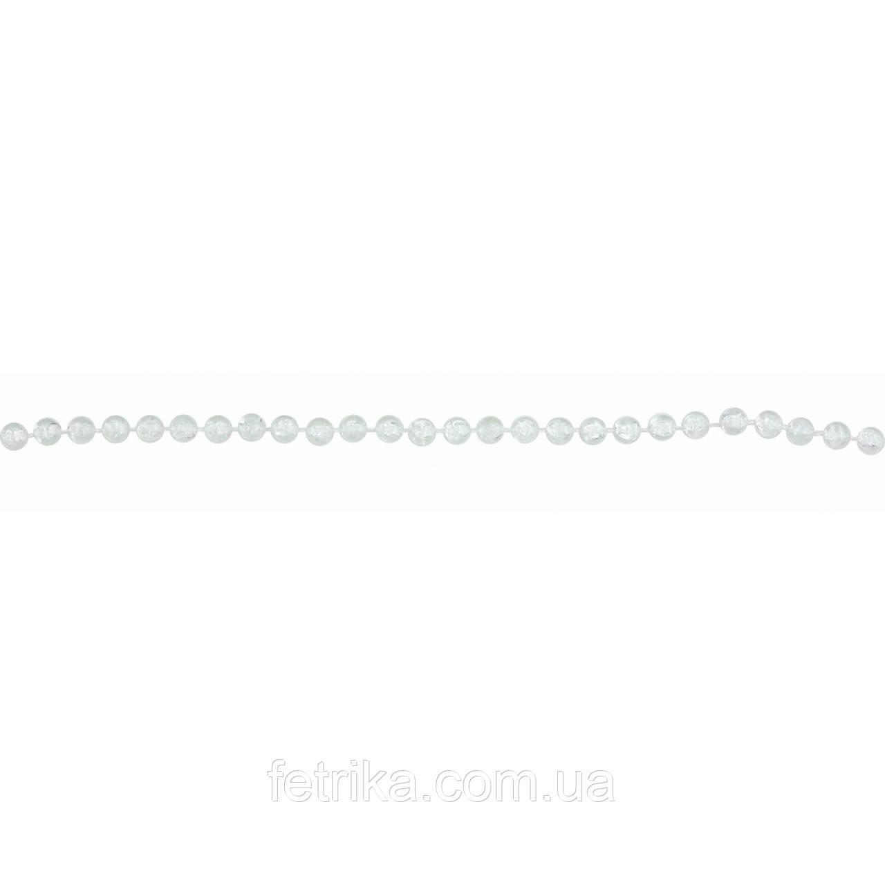 Новогодняя гирлянда, бусы новогодние 6 мм*3 м, кристалл