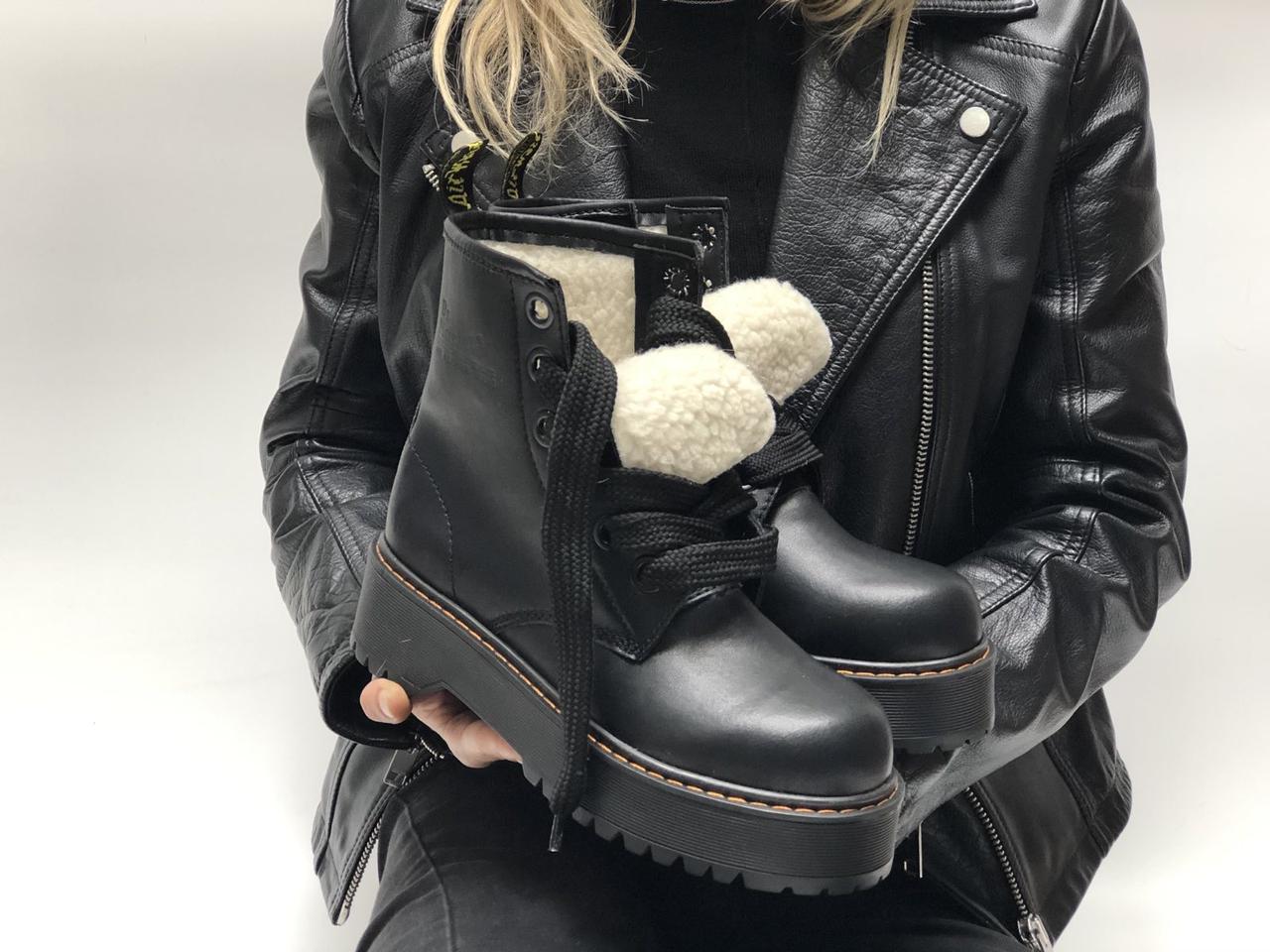 Женские ботинки Dr.Martens  JADON MOLLY кожа, ЗИМА черные. ТОП Реплика ААА класса.