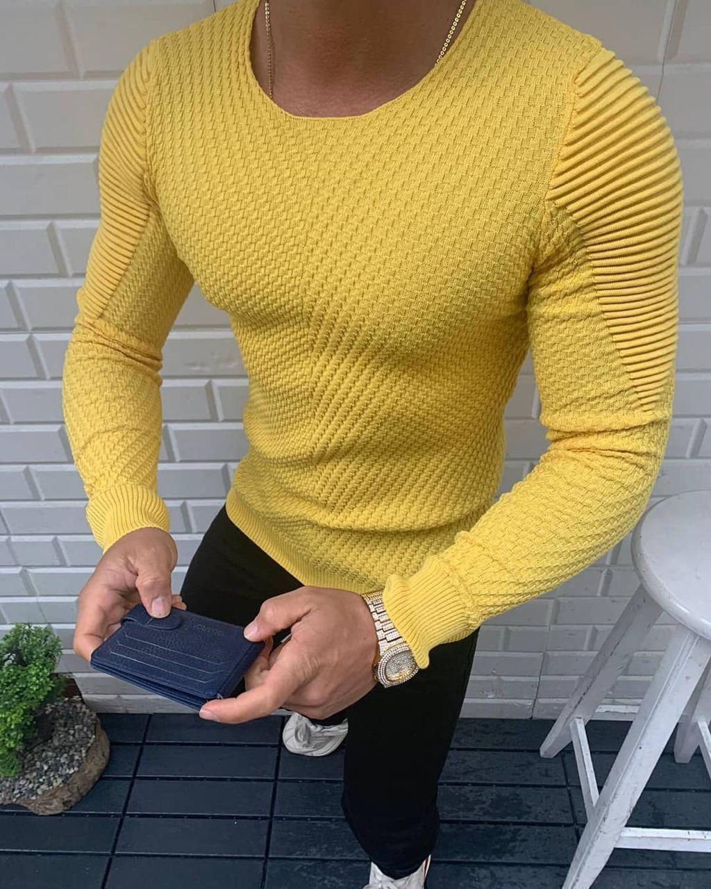 😜 Свитер - Мужской желтый свитер (вискоза + хлопок)