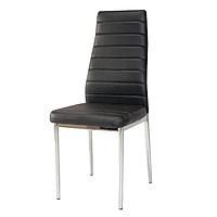 Черные стулья для кухни Signal H-261 из кожзама с высокой спинкой ножки хром в стиле модерн