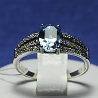 Серебряное кольцо с голубым фианитом 1038г, фото 1