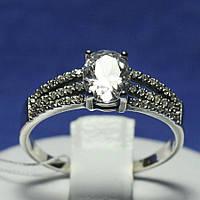 Серебряное кольцо с цирконом Классическое 1038, фото 1