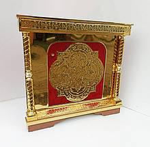 Угловой жертвенник с чеканкой на булате и красным бархатом