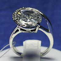 Серебряное кольцо с крупным фианитом и чернением 1041