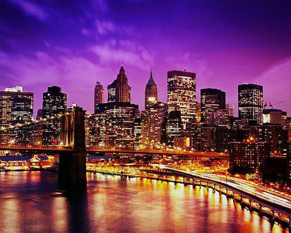 Картина по номерам Чарівний діамант Ночной Нью-Йорк РКДИ-0069 40х50см набір для розпису по цифрах, розмальовка набір для розпису, фарби та пензлі