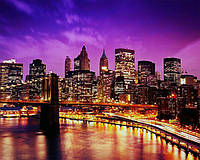 Картина по номерам Чарівний діамант Ночной Нью-Йорк РКДИ-0069 40х50см набір для розпису по цифрах, розмальовка набір для розпису, фарби та пензлі, фото 1