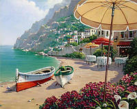 Картина рисование по номерам Чарівний діамант Лодки на острове Капри РКДИ-0191 40х50см набор для росписи,, фото 1