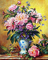Картина рисование по номерам Чарівний діамант Букет прекрасных пионов РКДИ-0155 40х50см набор для росписи,, фото 1
