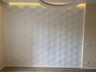 """Гипсовые 3D панели """"Соты"""" Белый 215*250*25 мм"""
