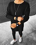 😜 Свитер - Мужской черный свитер (удлиненныый, фото 2