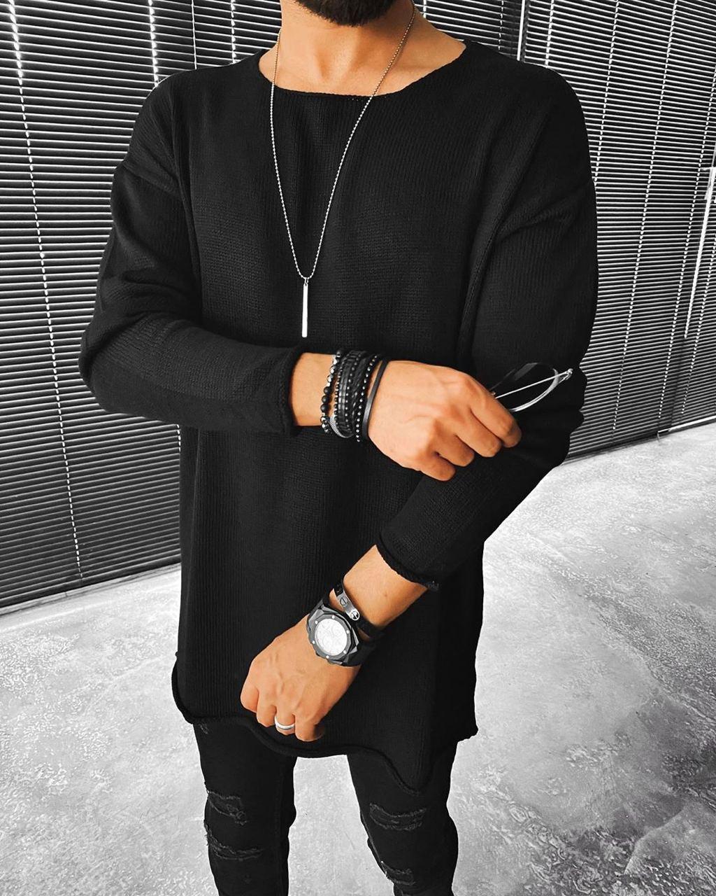 😜 Свитер - Мужской черный свитер (удлиненныый