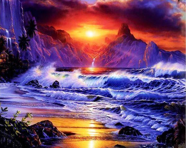 Картина рисование по номерам Чарівний діамант Морской закат РКДИ-0005 40х50см набор для росписи, краски,
