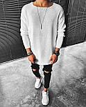 😜 Свитер - Мужской белый свитер (удлиненныый), фото 2