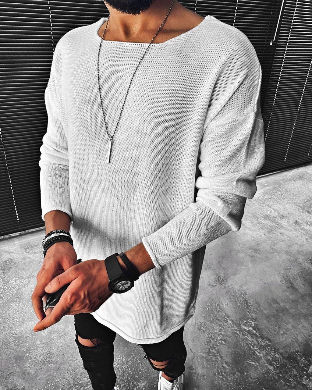 😜 Свитер - Мужской белый свитер (удлиненныый)