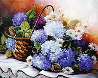 Картина рисование по номерам Чарівний діамант Корзинка с гортензией РКДИ-0107 40х50см набор для росписи,, фото 1