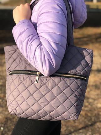 Дутая/стеганая зимняя женская сумка серая 1275178471, фото 2