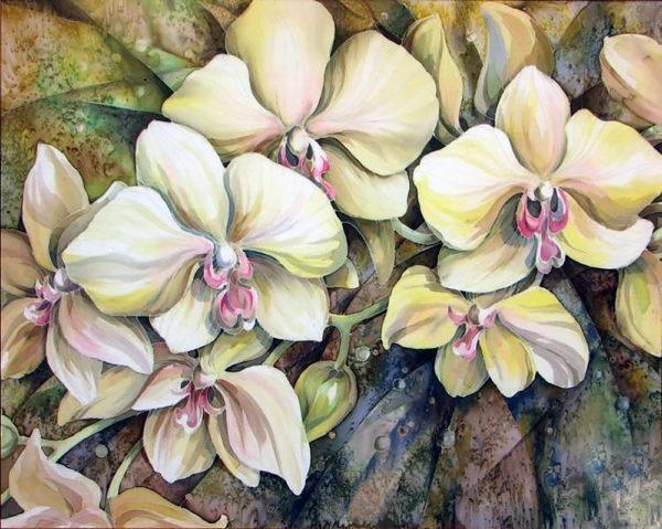 Картина рисование по номерам Чарівний діамант Орхидея – Батик РКДИ-0273 40х50см набор для росписи, краски,