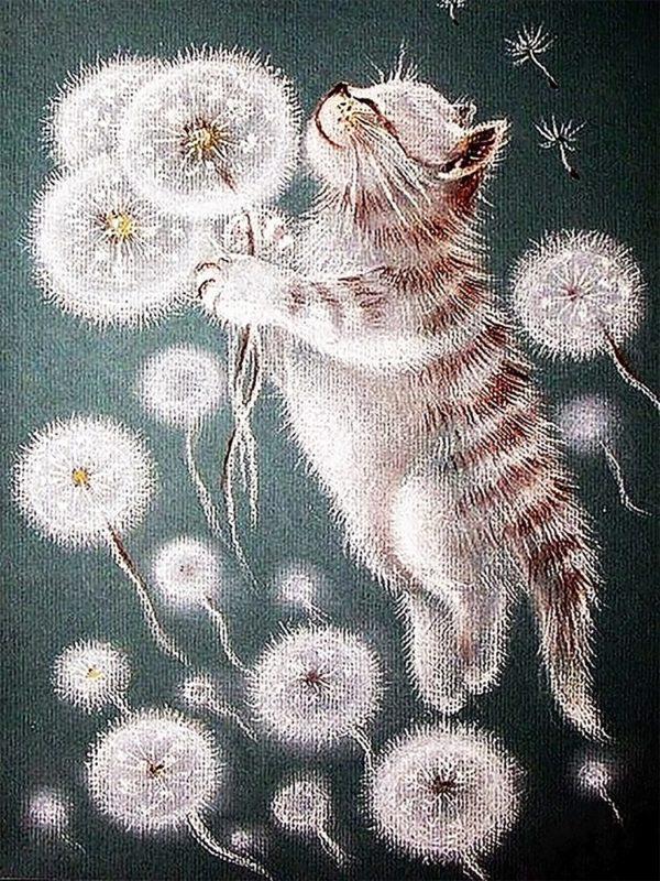 Картина рисование по номерам Чарівний діамант Пухнастики РКДИ-0091 30х40см набор для росписи, краски, кисти,