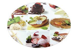 Подставка для торта/тортовница 30х2 см. стеклянная вращающаяся на низкой ножке Пирожные (6846) а ассортименте