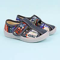 Текстильні туфлі дитячі тапочки Паша, сірі тм Waldi розмір 24,25
