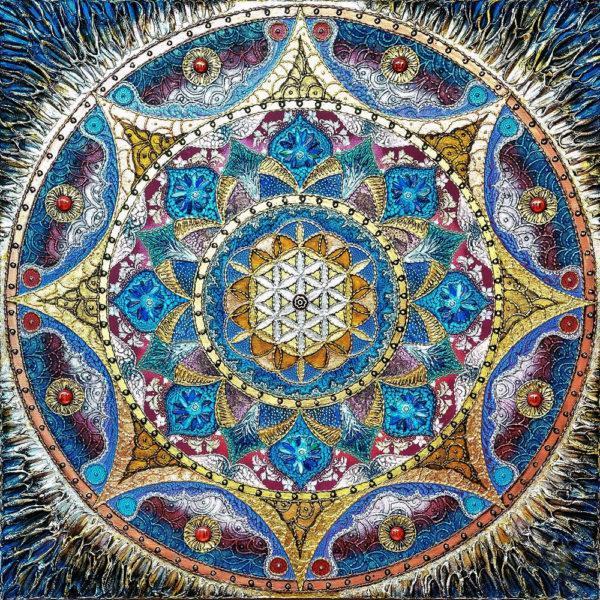 Картина рисование по номерам Чарівний діамант Мандала – Раскрытия любви РКДИ-0291 40х40см набор для росписи,