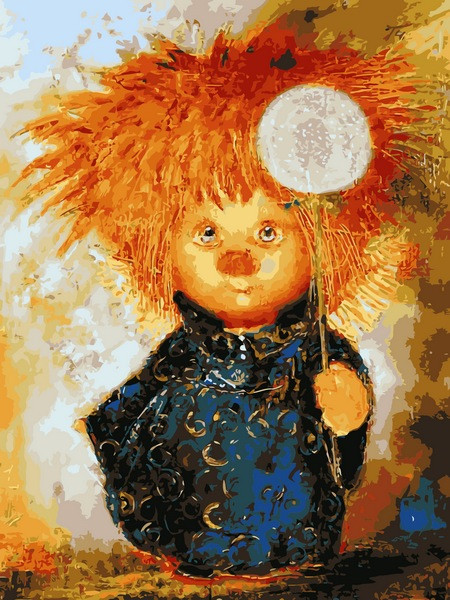 Картина по номерам Солнечный ангел с одуванчиком, 30x40 см., Babylon