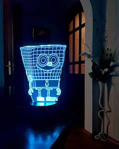 """Детский ночник - светильник """"Спанч Боб"""" 3DTOYSLAMP"""