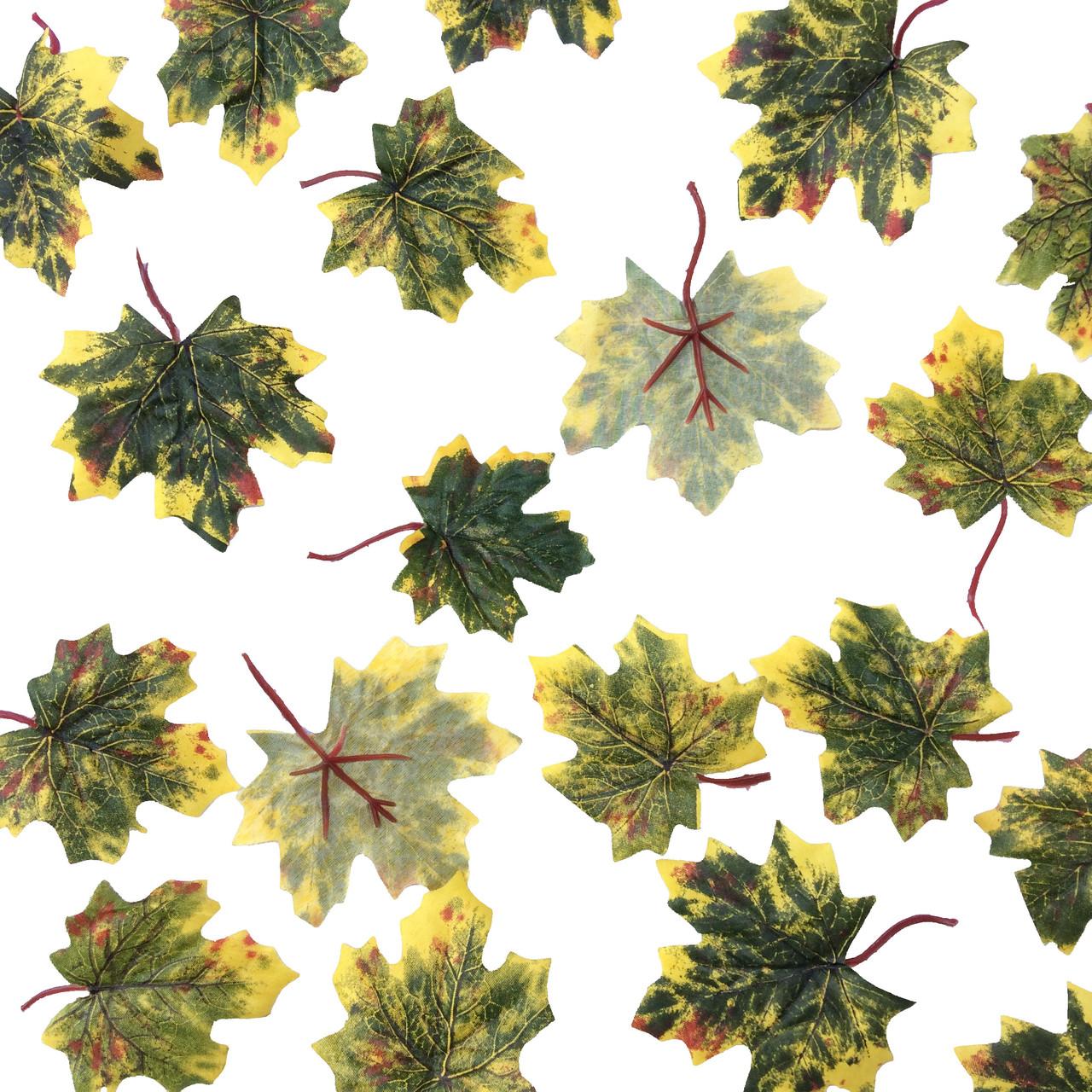 Искусственные листья клена желто- зеленные c хвостиком  50 шт в уп