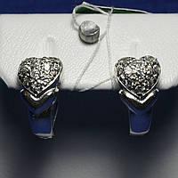 Серебряные серьги с цирконием Сердце 5424-р