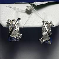 Родированные серебряные серьги с фианитами в форме маркиза 5695-р