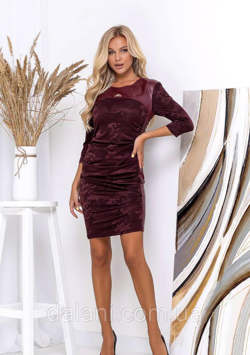 Вечернее бордовое платье ассиметричное приталенное