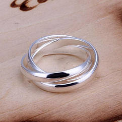 Кольцо, Латунь, Цвет: Серебро, Размер 17.3, 1 шт