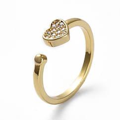 Кольцо Сердце, Регулируемое, Латунь + Фианиты, Прозрачные Камни, Цвет: Золото, Размер 17.7, 1 шт