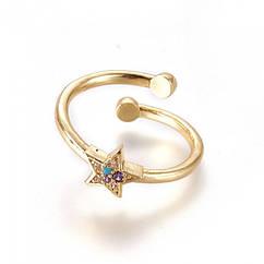 Кольцо Звезда, Регулируемое, Латунь + Фианиты, Цвет: Золото, Размер 16.0, 1 шт