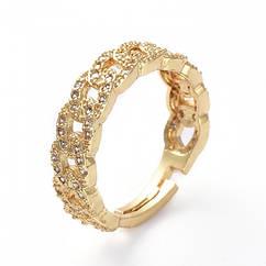 Кольцо Цепь, Латунь + Фианиты, Регулируемое, Цвет: Золото, Размер 17.1, 1 шт