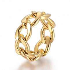 Кольцо Цепь, Нержавеющая Сталь, Цвет: Золото, Размер 17.0, Звенья: 12,5x9x2мм, 1 шт