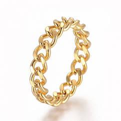 Кольцо Цепь, Нержавеющая Сталь, Цвет: Золото, Размер 17.0, Звенья: 5.5x4.5x1мм, 1 шт