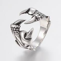Кольцо Коготь, Нержавеющая Сталь, Цвет: Античное Серебро, Размер: 17-21, 1 шт