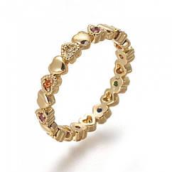 Кольцо Сердце, Латунь + Фианиты, Покрытие Золотом 18К, Размер 17.5, 1 шт