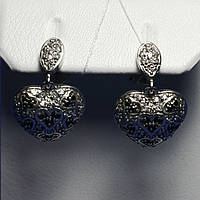 Серебряные серьги с фианитами Сердечки 20002-р