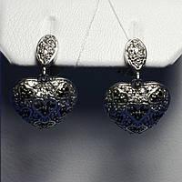 Срібні сережки великі Серця 20002-р, фото 1