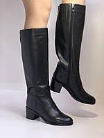 Широкая нога. Осенне-весенние сапоги на среднем каблуке. Натуральная кожа. Люкс качество. Molka. Р. 35. 36, фото 5