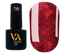 Гель-лак Valeri 16 (Бордовый с блестками)