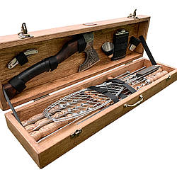 """Набор шампуров """"Пантера"""" Gorillas BBQ в деревянной коробке"""
